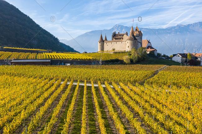 April 30, 2019: Aigle Castle, Aigle, Canton of Vaud, Switzerland, Europe