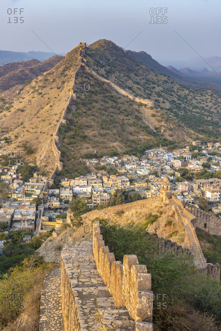 India, Rajasthan, Jaipur, Amber, Amber Fort and Wall Fortifications