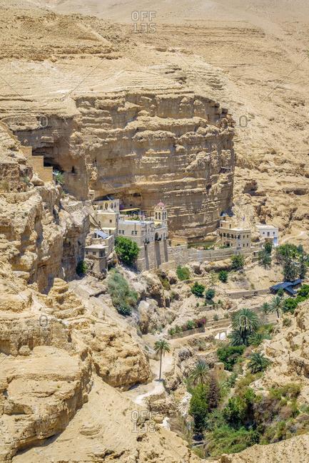 Palestine, West Bank, Jericho. St. George Orthadox Monastery (Mar Jaris ) in Wadi Quelt, Prat River gorge.