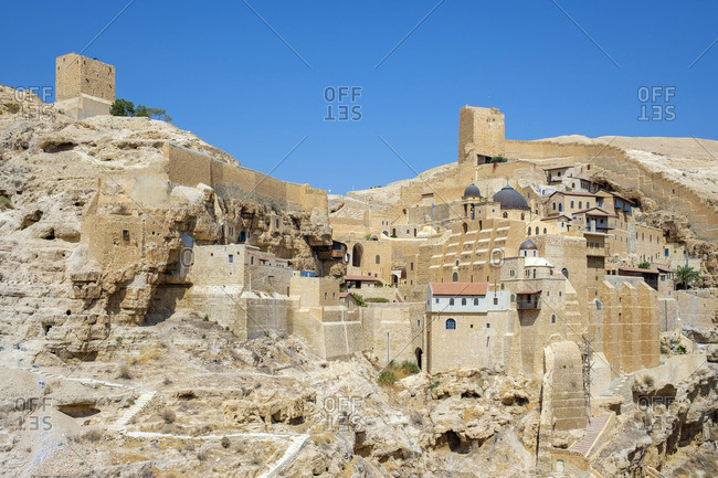 Palestine, West Bank, Bethlehem Governorate, Al-Ubeidiya. Mar Saba monastery, built into the cliffs of the Kidron Valley in the Judean Desert.