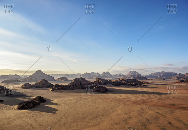 Landscape of Wadi Rum, aerial view from a balloon, Aqaba Governorate, Jordan