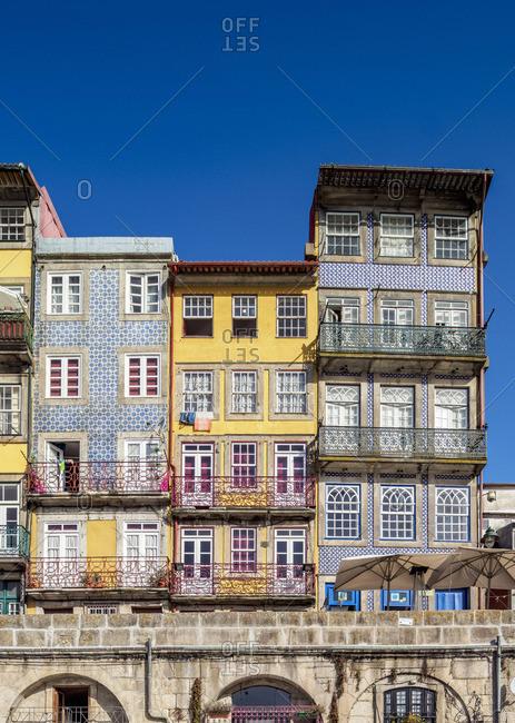 Colorful houses at Cais da Ribeira, Porto, Portugal