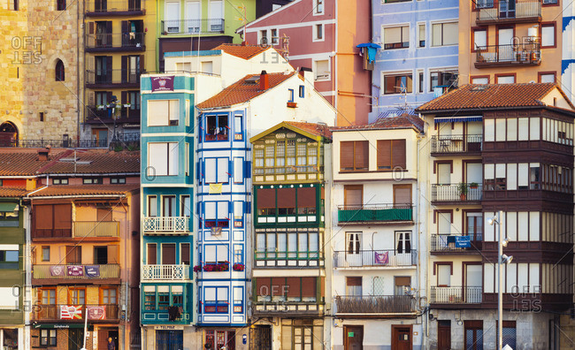 July 10, 2018: Spain, Vizcaya Province, Basque Country, Bermeo, harbor, close-up of buildings