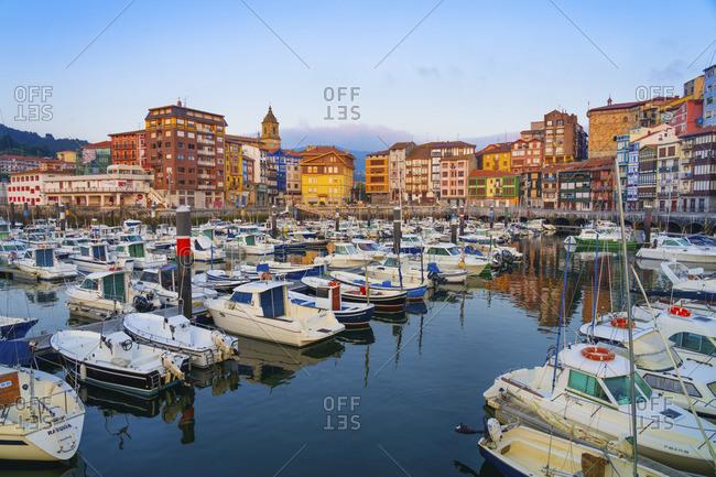 July 10, 2018: Spain, Vizcaya Province, Basque Country, Bermeo, harbor.