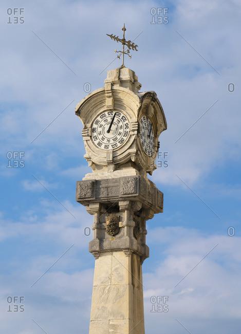 Spain, Basque Country, San Sebastian (Donostia), Concha Bay, town barometer tower