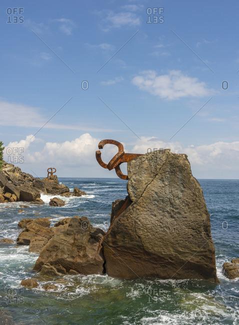 July 6, 2018: Spain, Basque Country, San Sebastian (Donostia), Comb of the wind sculpture (Peine del viento)