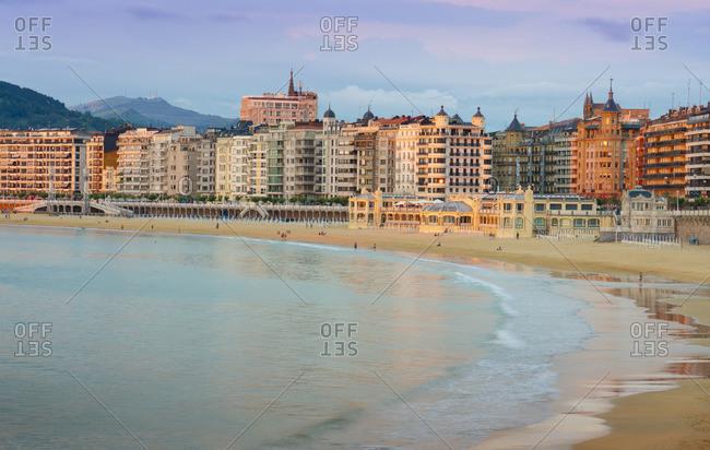 July 6, 2018: Spain, Basque Country, San Sebastian (Donostia), Concha Bay, view towards town