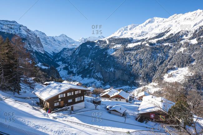 February 13, 2019: Wengen and Lauterbrunnen valley, Berner Oberland, canton of Bern, Switzerland