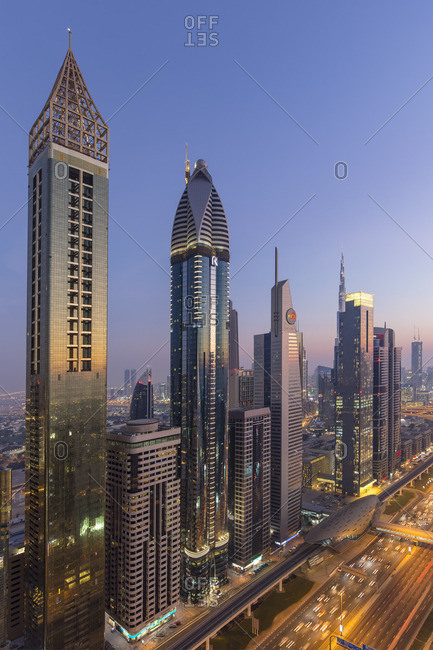January 11, 2017: UAE, Dubai, Sheik Zayed Road, Gevora Hotel (far left tallest hotel in the world as of 2018)