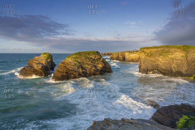 Spain, Galicia, Lugo, Ribadeo, Beach of the Cathedrals, overview