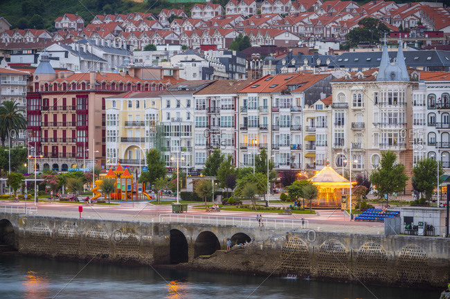 July 11, 2018: Spain, Cantabria, Castro-Urdiales, view of town and harbor