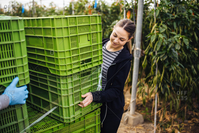 Farmer girl carries some plastic boxes