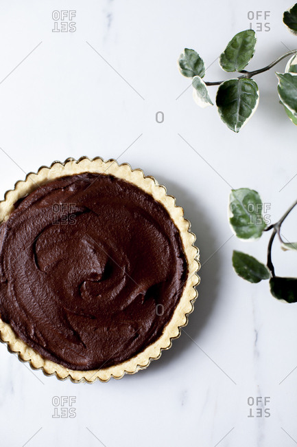 Overhead view of vegan chocolate tart