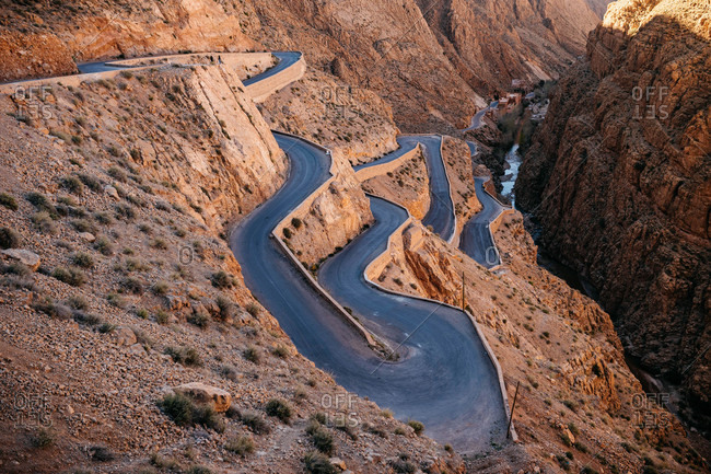 Curvy road in Dades Gorges, Morocco