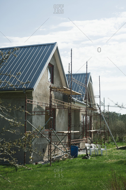 Scaffolding near house