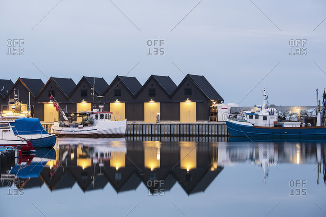 Sweden - August 16, 2012: Fishing huts at sea
