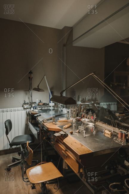 Interior of a jewelry making workshop
