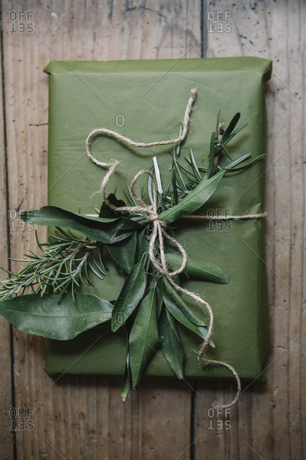 Wrapped present with natural decoration