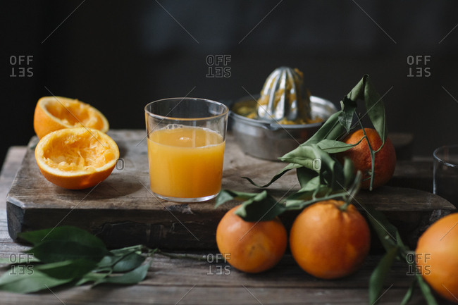 Glass of freshly squeezed orange juice