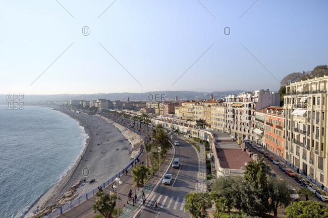 March 1, 2019: France- Provence-Alpes-Cote d'Azur- Nice- Promenade des Anglais- beach