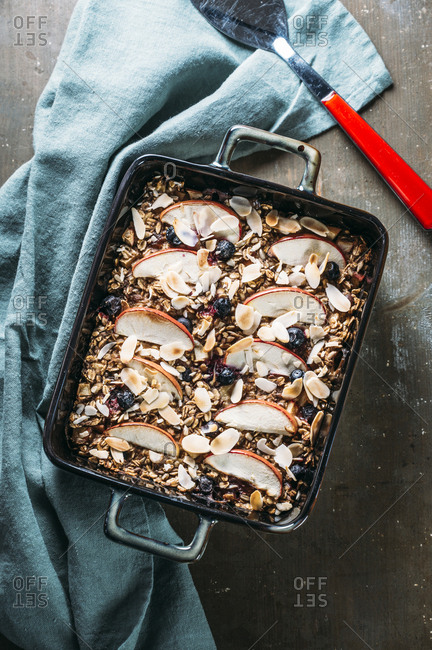 Baked Oats with apple- blueberry- almond- almond milk and linseed