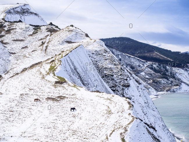 Spain- Basque Country- Zumaia- Ruta del Flysch at the coast in winter