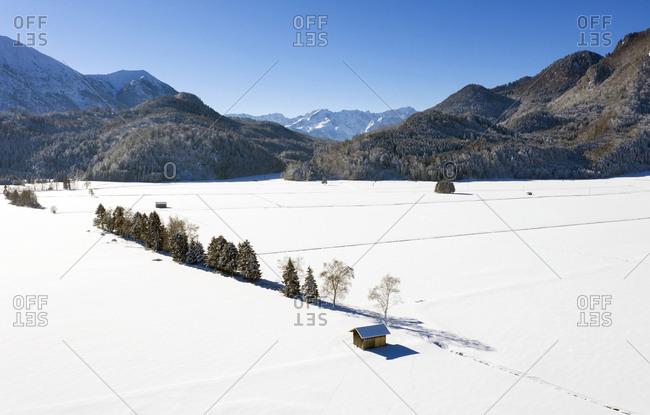 Germany- Upper Bavaria- Werdenfelser Land- near Eschenlohe- winter landscape- Aerial view of shack