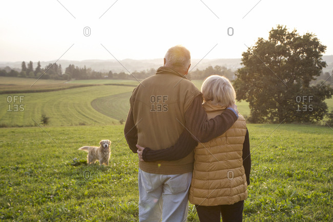 Back view of happy senior couple standing arm in arm on a meadow enjoying sunset