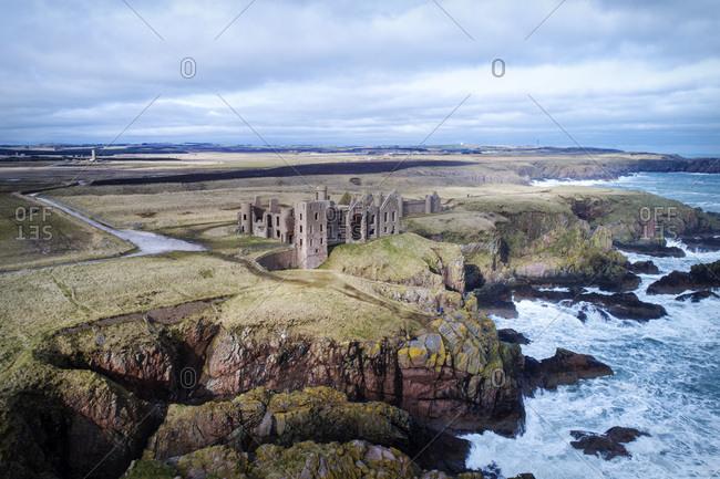 United Kingdom- Scotland- Aberdeenshire- Slains Castle