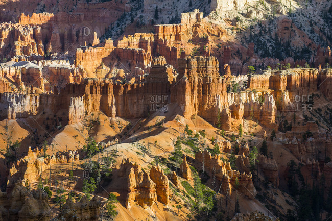 USA- Utah- Bryce Canyon National Park- sandstone formations in the late afternoon