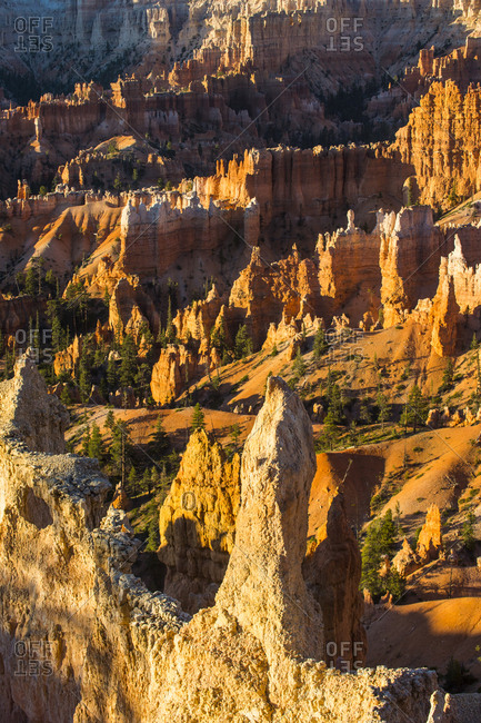 USA- Utah- Bryce Canyon National Park- sandstone formations in the evening light
