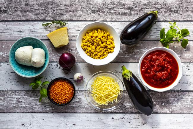 Ingredients for aubergine lasagna
