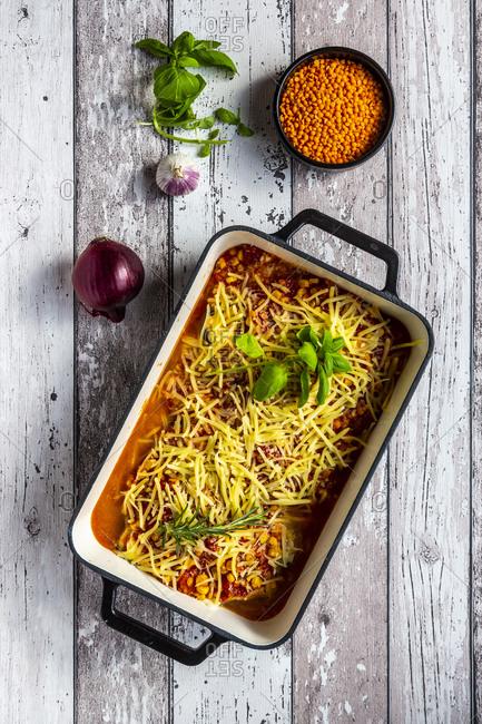 Aubergine lasagna in a casserole