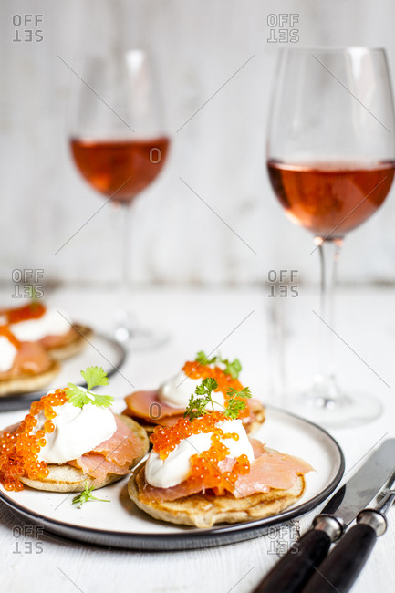 Russian style blini with salmon- sour cream and trout roe