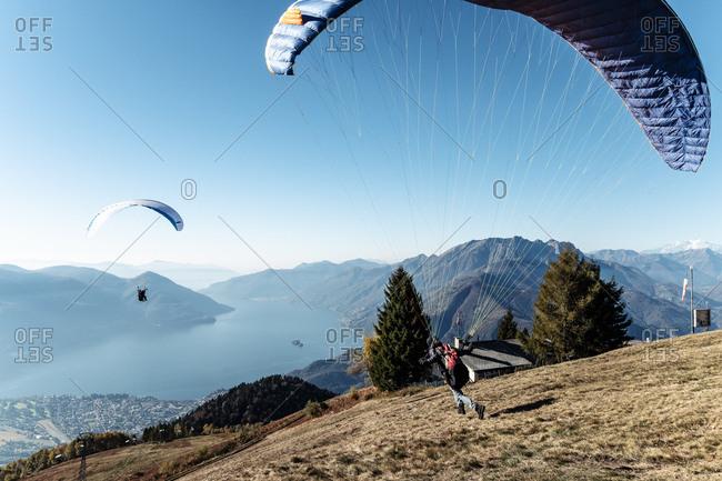 Switzerland- Ticino- Locarno- Ascona- Lake Maggiore- Paragliders