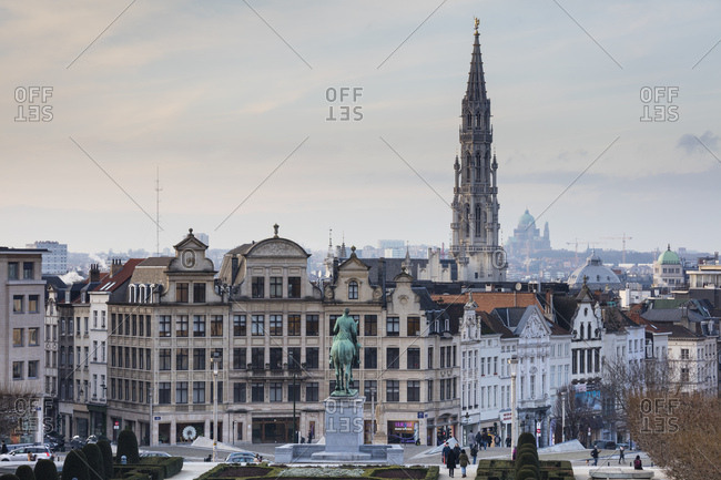 January 30, 2019: Belgium- Brussels- View from Mont des Arts- Townhall and lower city