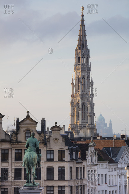 Belgium- Brussels- View from Mont des Arts- Townhall and lower city- Statue of Albert I of Belgium