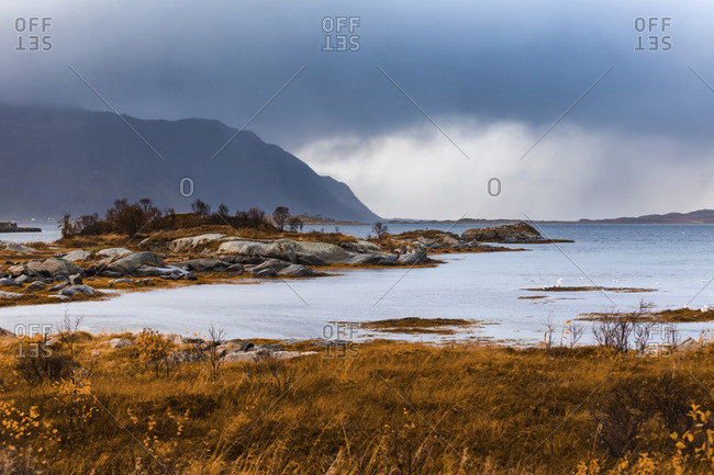 Norway- Lofoten Islands- Gimsoysand- coastal landscape