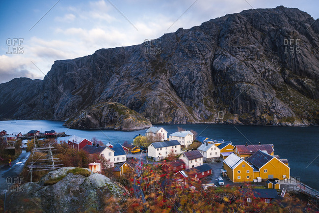 Norway- Lofoten Islands- Nusfjord- houses at the coast
