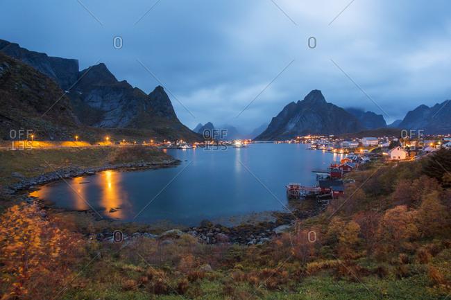 Norway- Lofoten Islands- coastal village at dusk