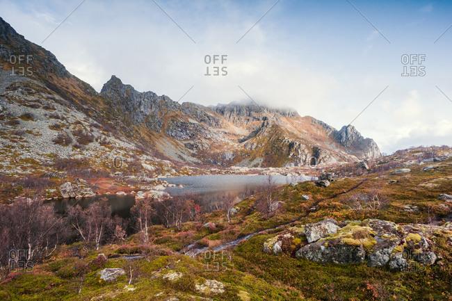 Norway- Lofoten Islands- Henningsvaer- Mountains in autumn