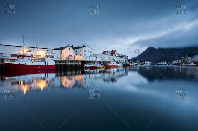 Norway- Lofoten Islands- Henningsvaer in the evening