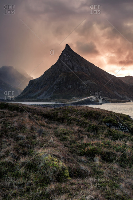 Norway- Lofoten Islands- Fredvang- coast in the evening light