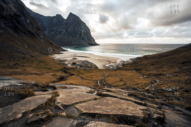 Norway- Lofoten Islands- View to Kvalvika Beach