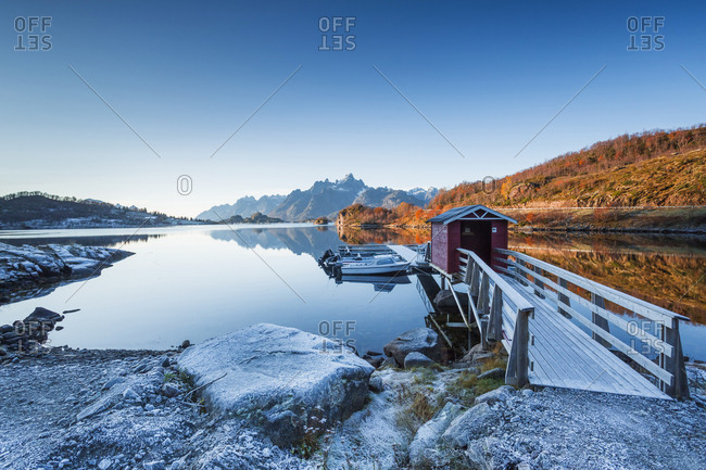 October 22, 2017: Norway- Lofoten Islands- coast and sea- jetty and boats