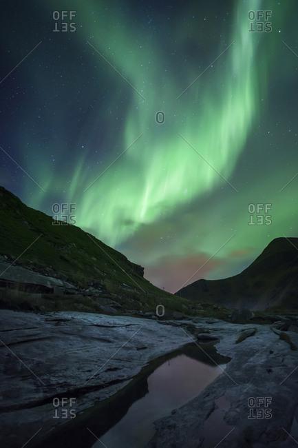 Norway- Lofoten Islands- Haukland Beach- northern lights