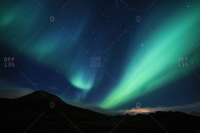 Norway- Lofoten Islands- Haukland Beach- northern lights
