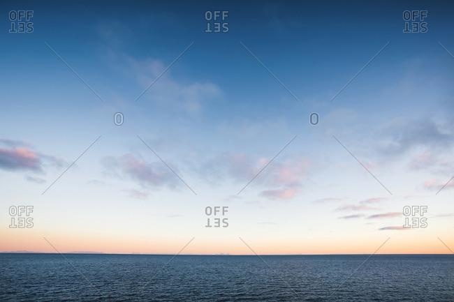 Norway- Lofoten Islands- A i Lofoten- sea in the evening light