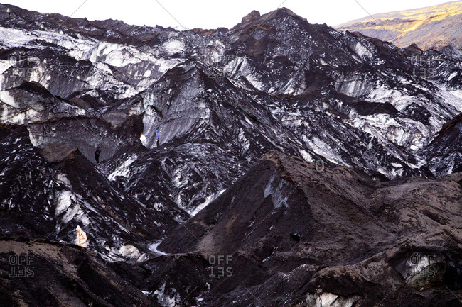 People exploring Vatnajokull glacier in Iceland