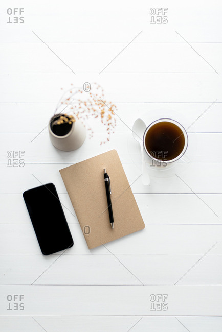 Notebook on table